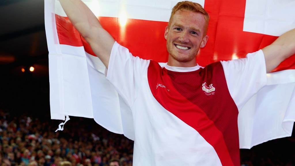 Greg Rutherford celebrates his win in the Long Jump