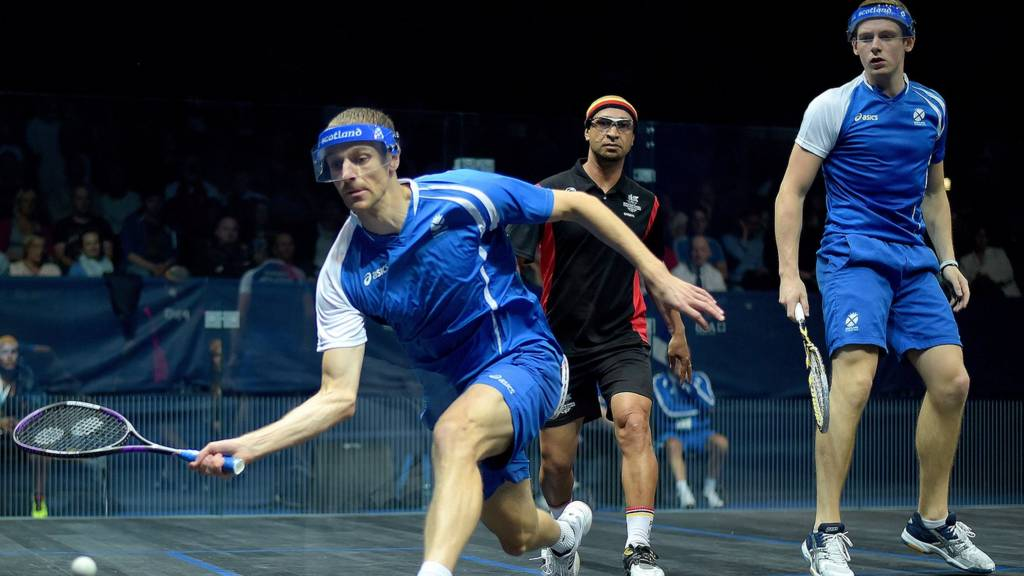 Scotland's Stuart Crawford and Greg Lobban in action