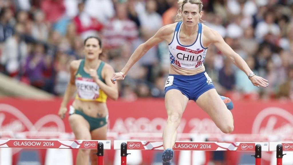 Eilidh Child competing in the 400m hurdles