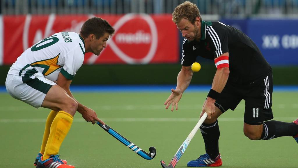 Wales in hockey action at Glasgow 2014 Commonwealth Games