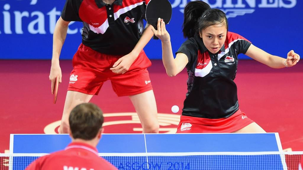 Tin Tin Ho of England in action at Glasgow 2014