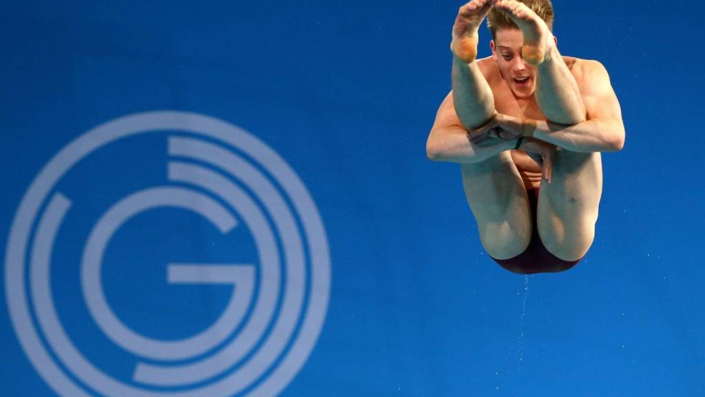 Denny of England in the Commonwealth diving at Glasgow 2014