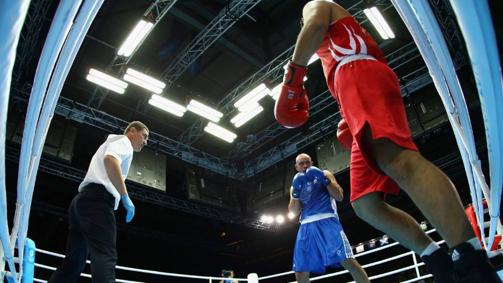 Boxing action from Glasgow 2014 Commonwealth Games