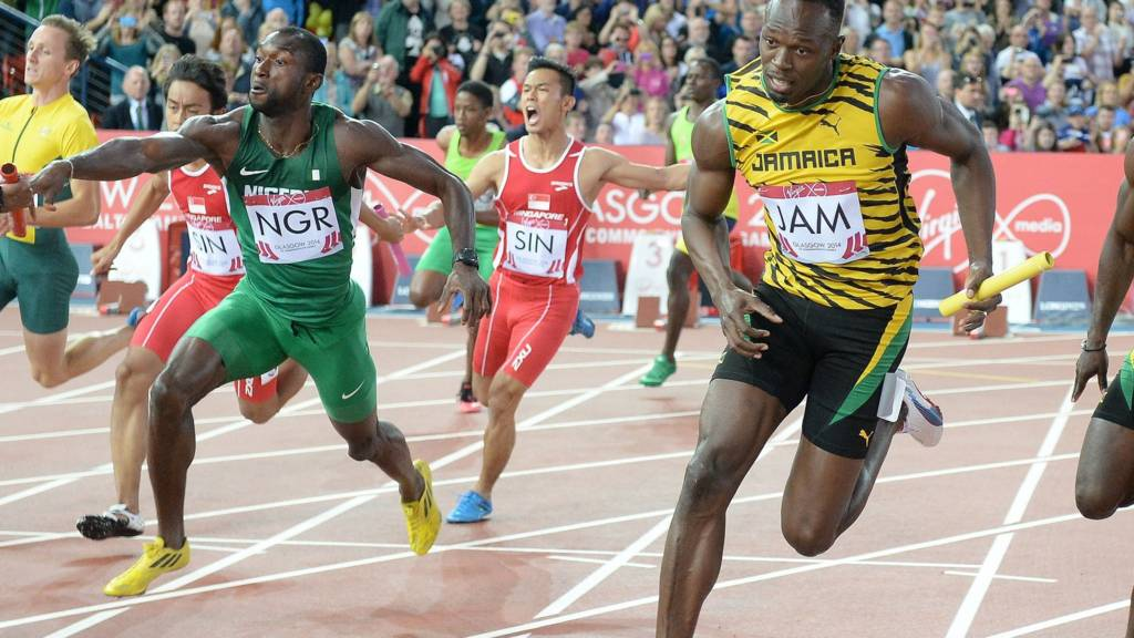Bolt competes at the Glasgow 2014