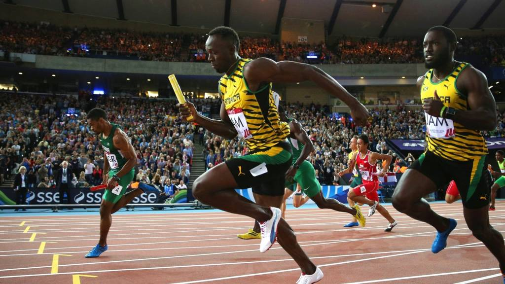 "Usain Bolt competes in the Men""s 4x100 metres relay"