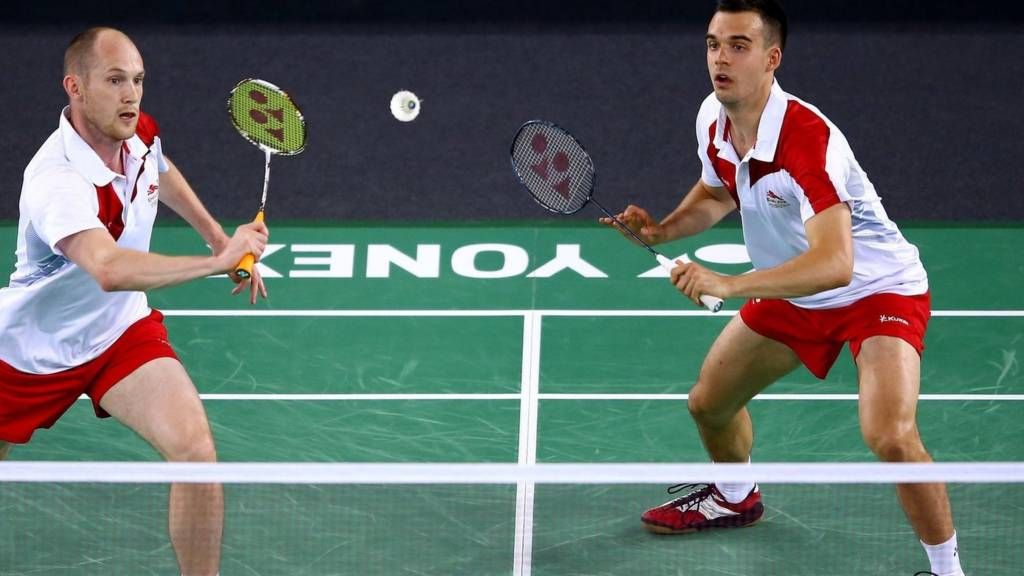 Chris Adcock and Andy Ellis of England at Glasgow 2014