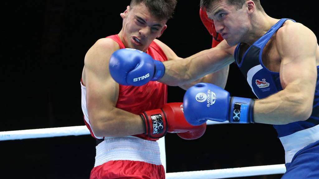 Anthony Fowler of England fights in Glasgow