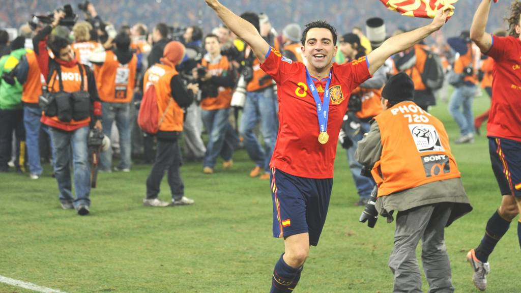 Spain's Xavi celebrates after winning the 2010 World Cup