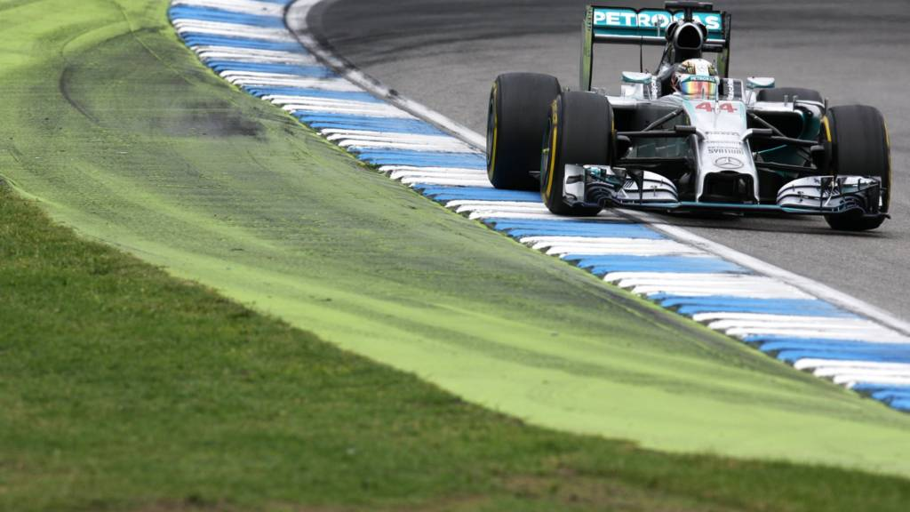 Lewis Hamilton racing in the 2014 Formula One champiionship