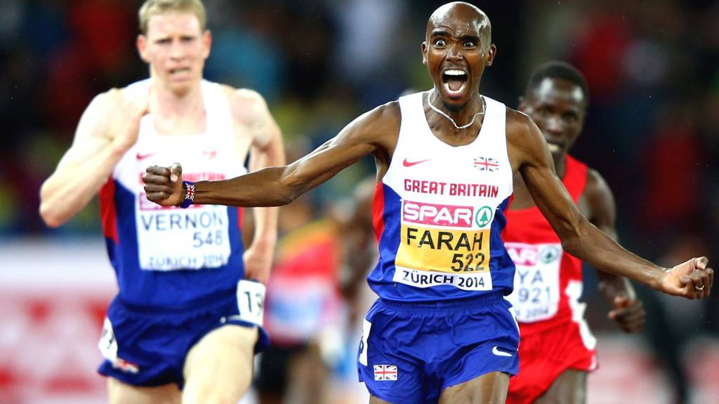 Mo Farah wins gold in the men's 10,000m in Zurich