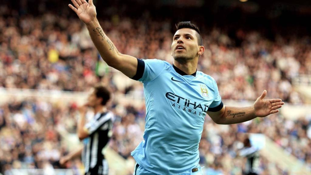 Sergio Aguero of Manchester City celebrates after scoring his team's second goal