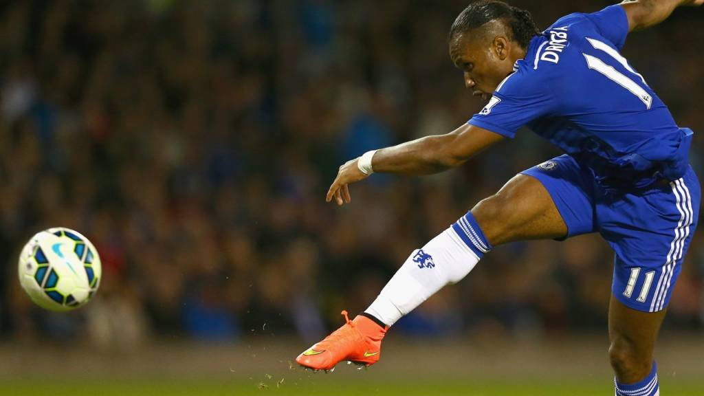 Didier Drogba shoots on his return to Chelsea