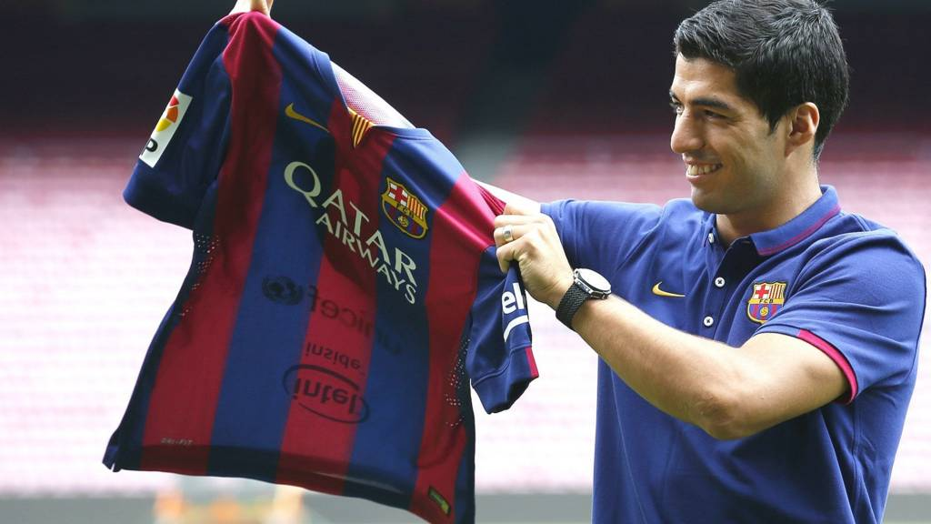 Luis Suarez is presented to the media after signing for Barcelona