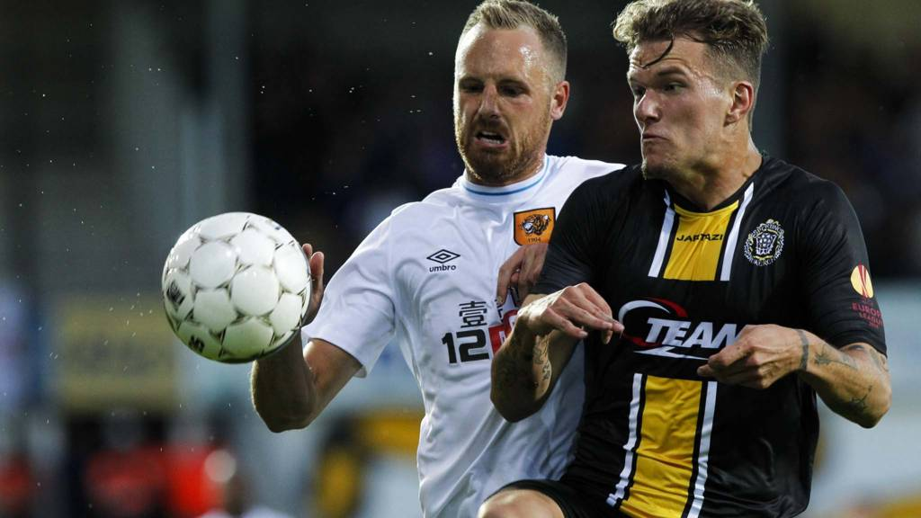 Hull in action in the Europa League