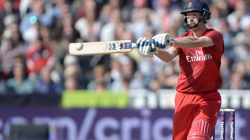 Karl Brown of Lancashire hits out for six