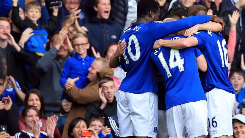 Everton's Seamus Coleman celebrates scoring the opening goal