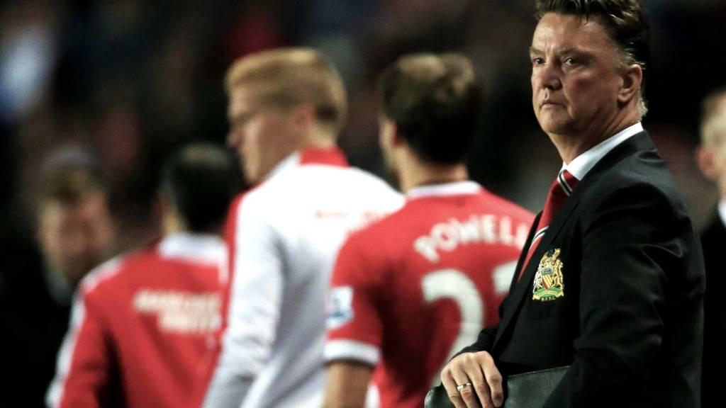 Louis van Gaal looks dejected at full time