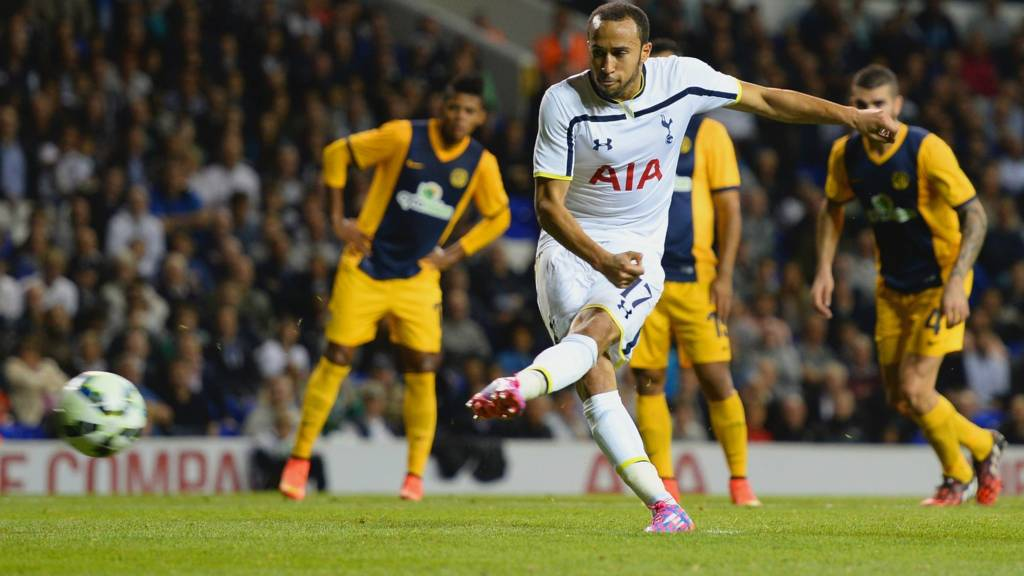 Andros Townsend scores from the penalty spot to extend Tottenham's lead
