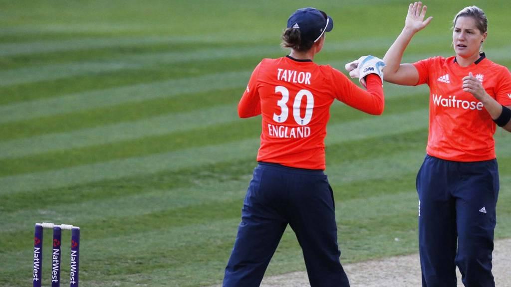 Katherine Brunt of England celebrates taking a wicket