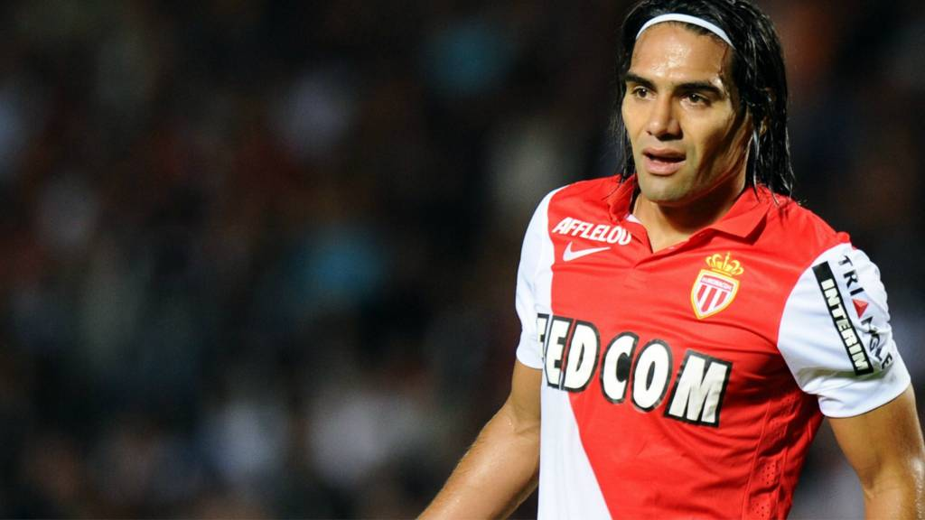 Falcao looks on