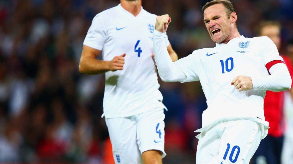 Wayne Rooney of England celebrates after scoring a goal