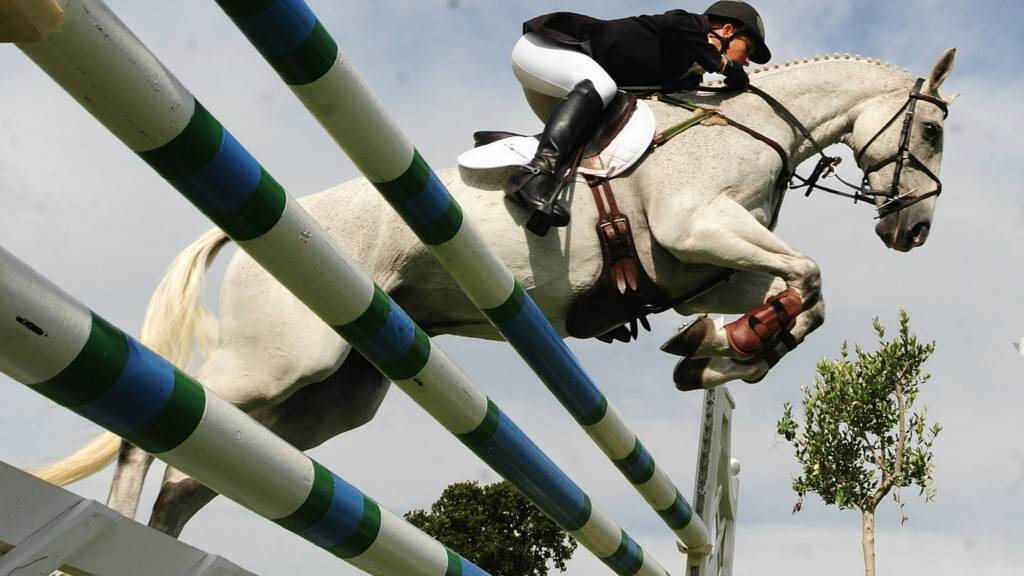 Caroline Powell of New Zealand during the Show Jumping Event of the Burghley Horse Trials
