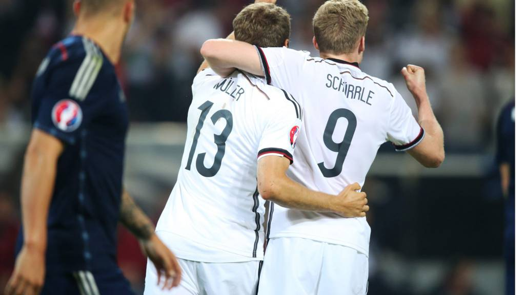 Thomas Muller celebrates after scoring for Germany against Scotland