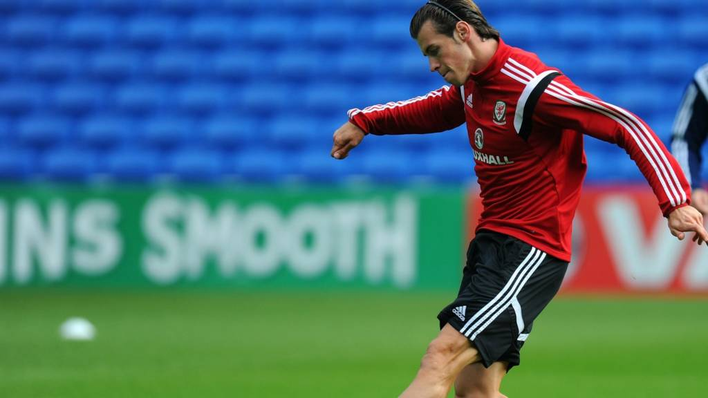 Gareth Bale in a training session for Wales