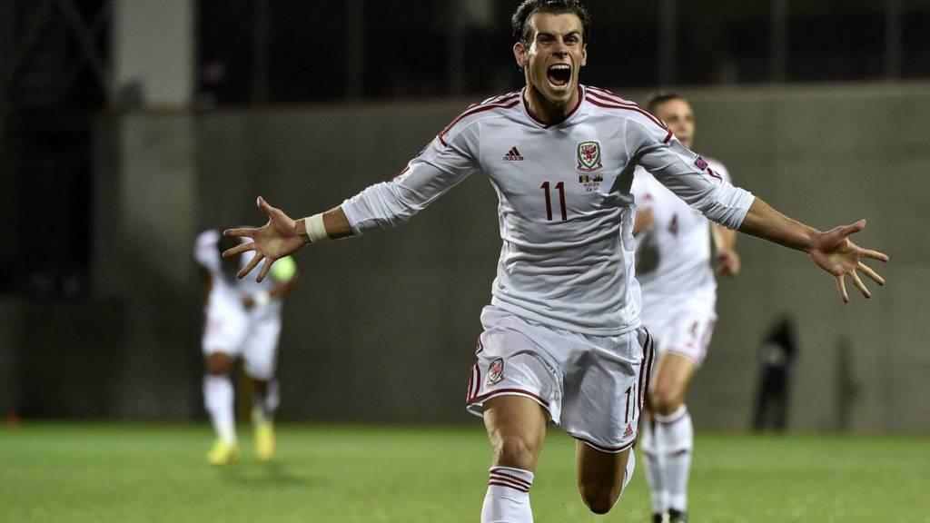 Gareth Bale celebrates scoring for Wales