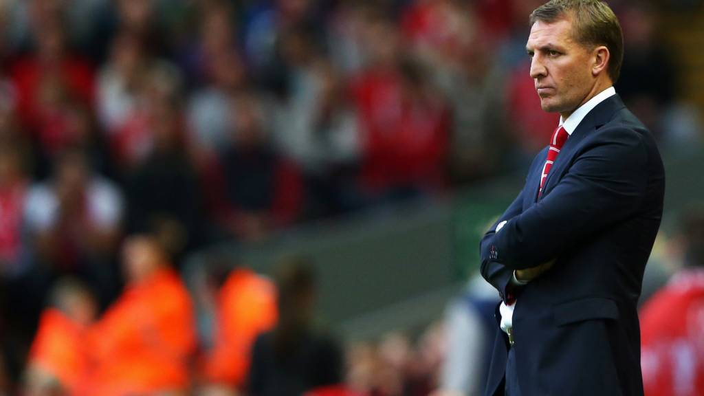 Rodgers, manager of Liverpool looks on
