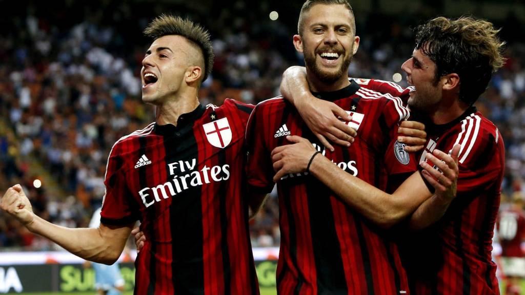 AC Milan celebrate Jeremy Menez's goal against Parma