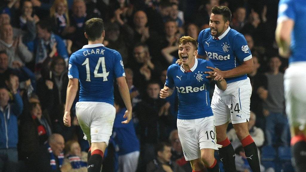 Lewis Macleod celebrates his goal for Rangers