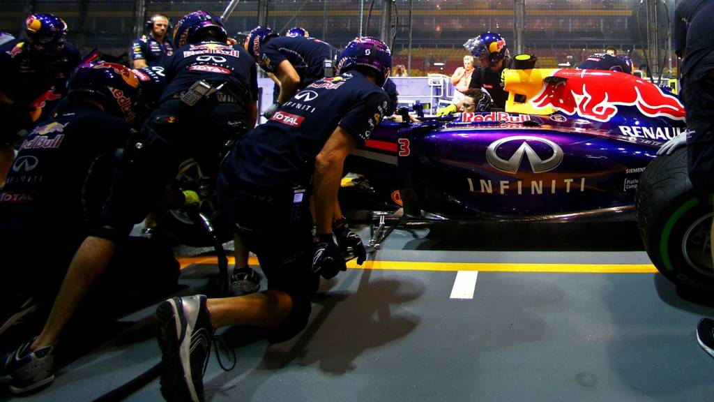 The Red Bull pit crew in action at Singapore
