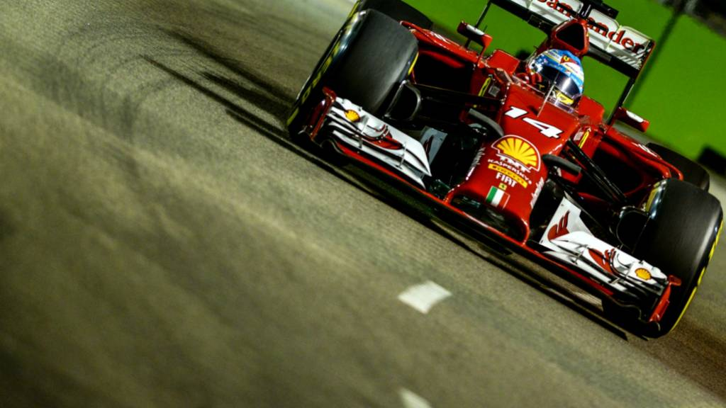 Fernando Alonso of Ferrari during second practice at the Singapore Grand Prix