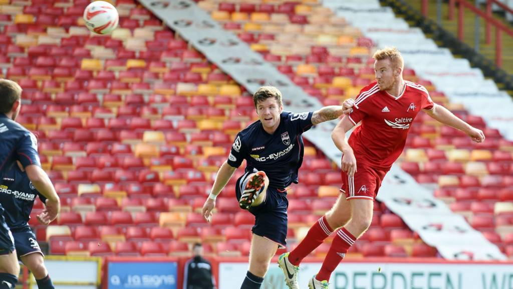 Adam Rooney scores for Aberdeen against Ross County