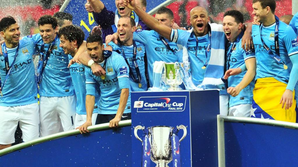 Manchester City lift the Capital One Cup in 2013