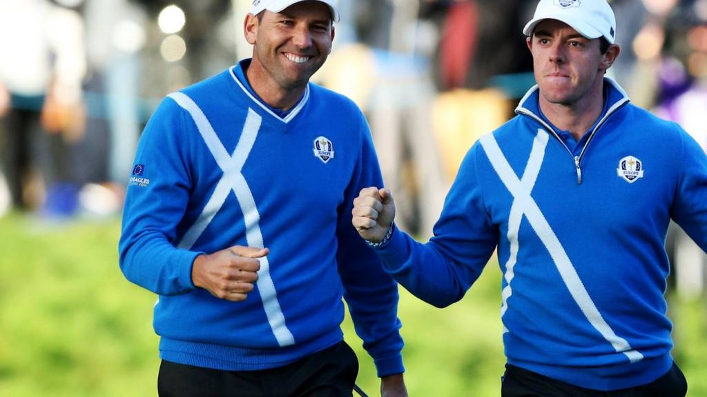 Sergio Garcia and Rory McIlroy celebrate at the Ryder Cup