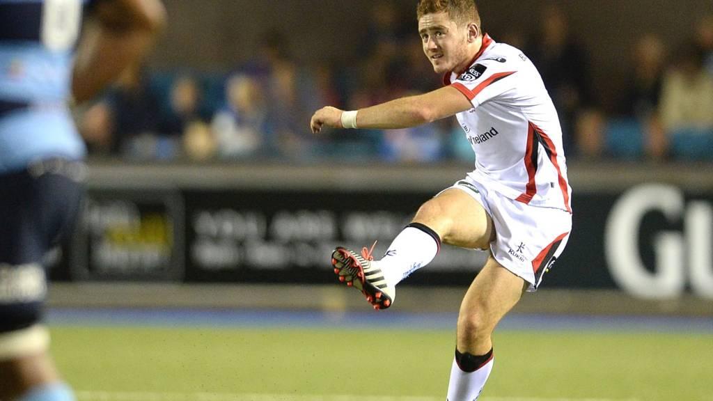 Paddy Jackson of Ulster kicks at goal