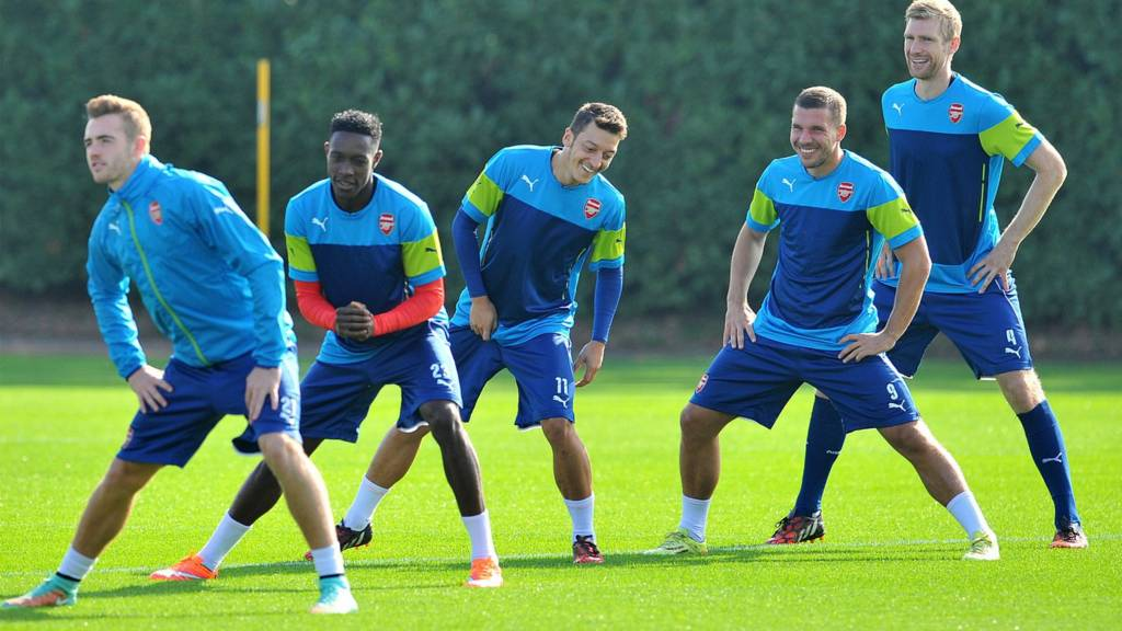 Arsenal train ahead of their match against Galatasaray
