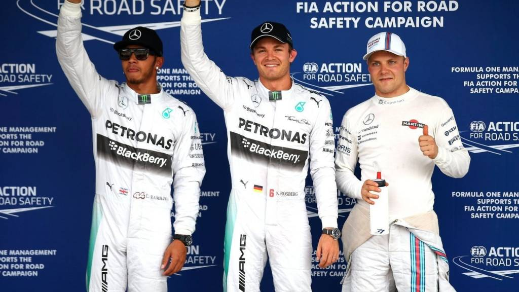 The top three qualifiers Lewis Hamilton, Nico Rosberg and Valtteri Bottas
