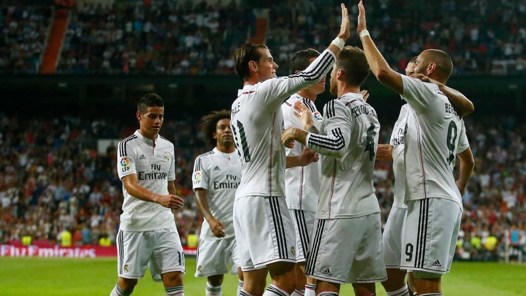 Gareth Bale and Karim Benzema celebrate for Real Madrid