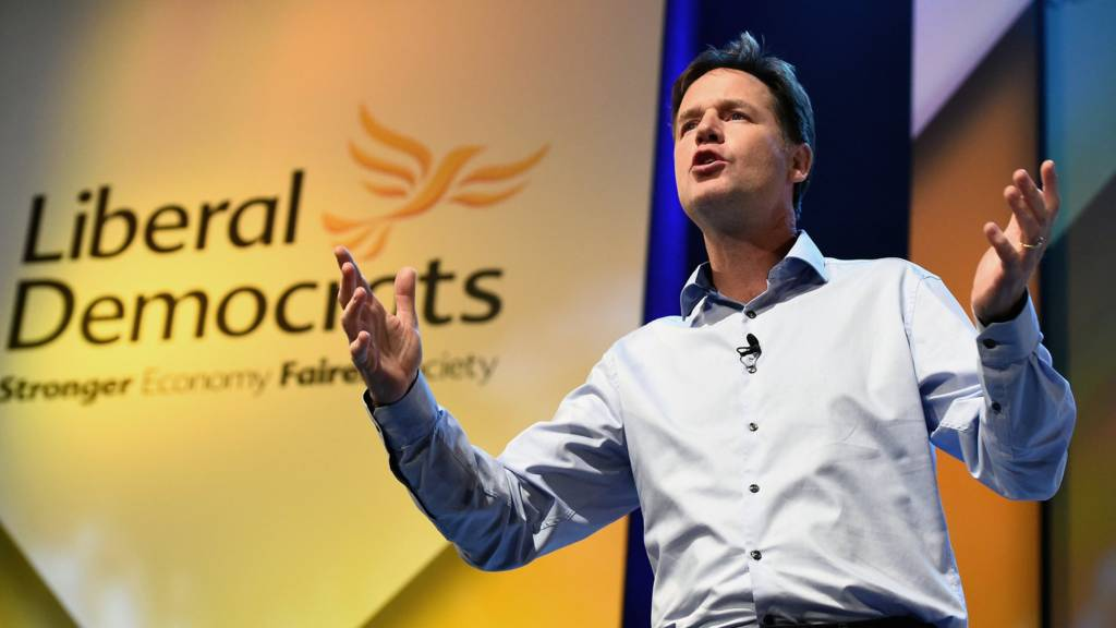 Nick Clegg at the Lib Dem conference on Saturday