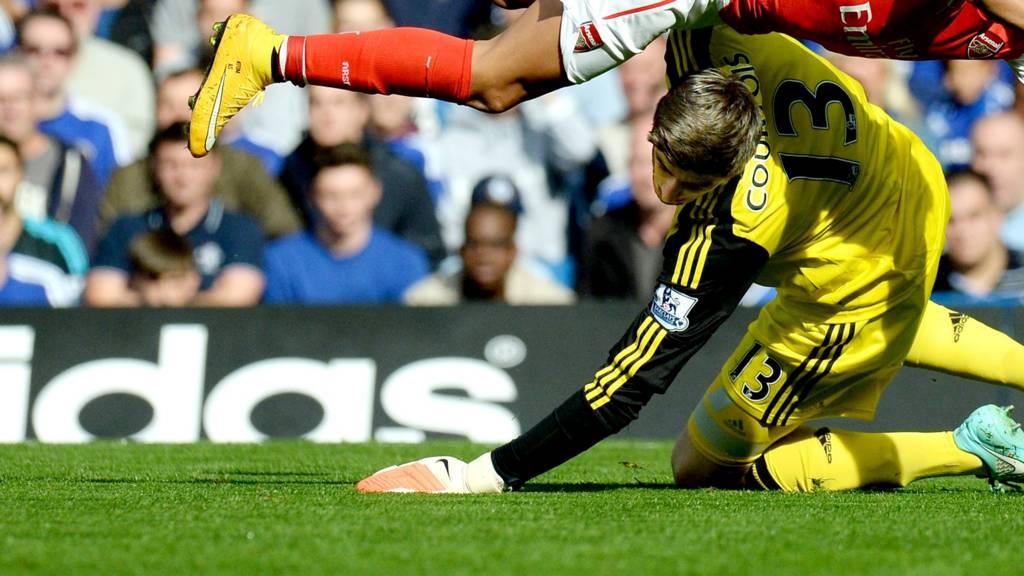 Thibaut Courtois collides with Alexis Sanchez