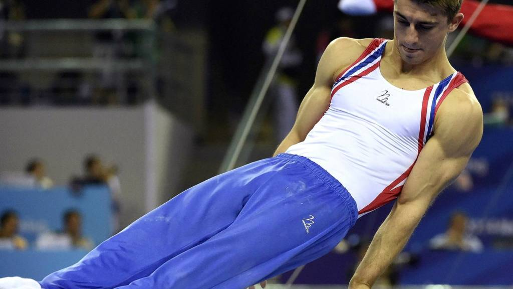 Max Whitlock competes on the pommel horse