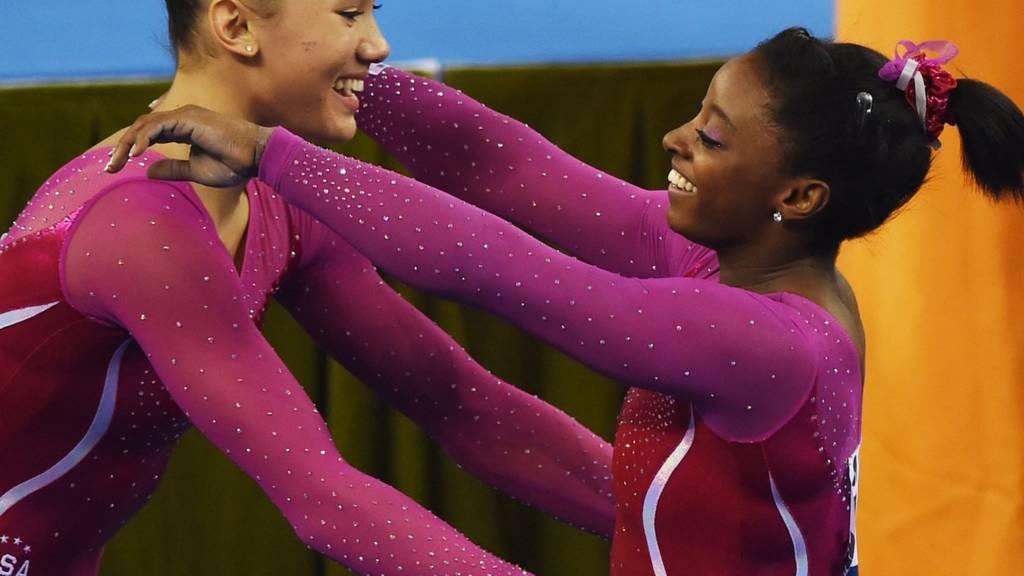 American gymnasts Simone Biles and Kyla Ross