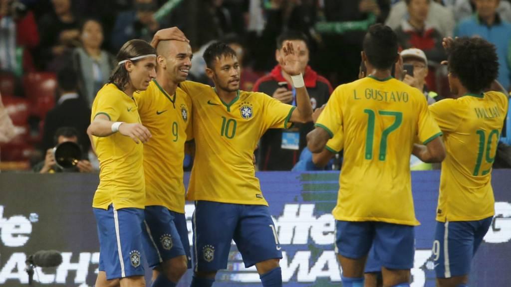 Brazil celebrate scoring