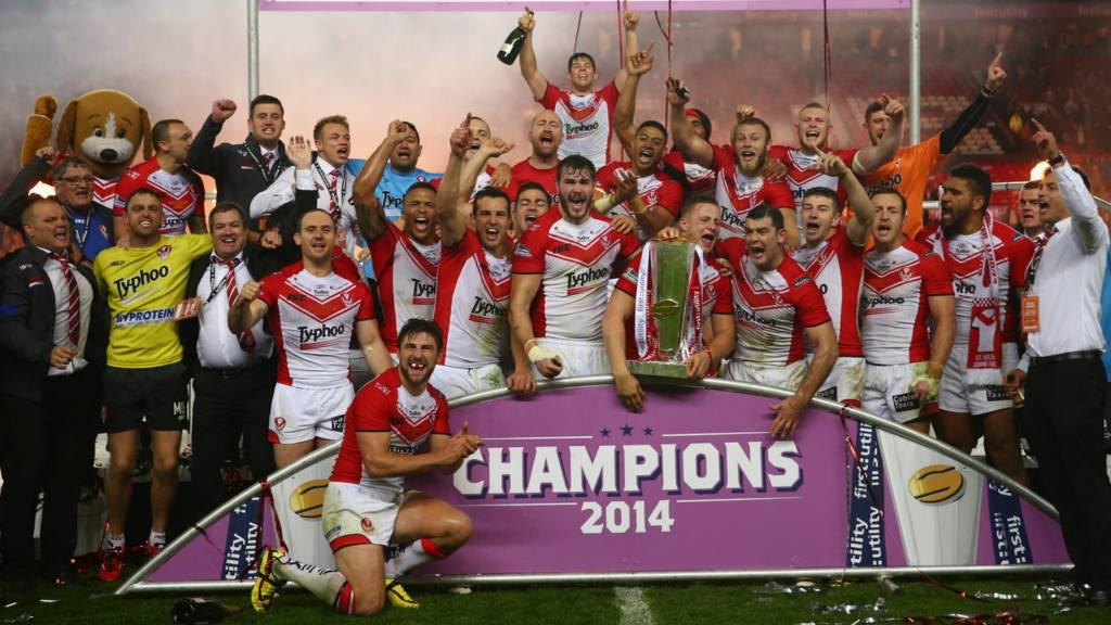 St Helens celebrate with the Super League trophy