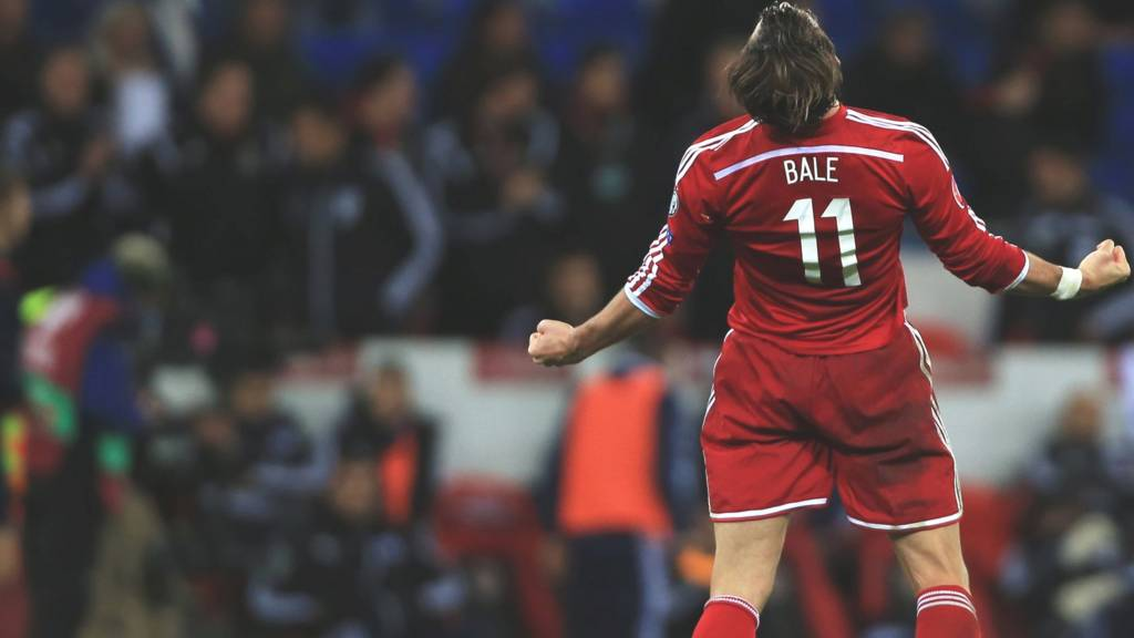 Gareth Bale celebrates his sides win over Cyprus