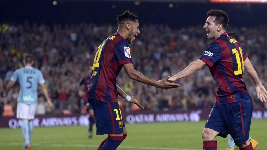 Messi and Neymar celebrate