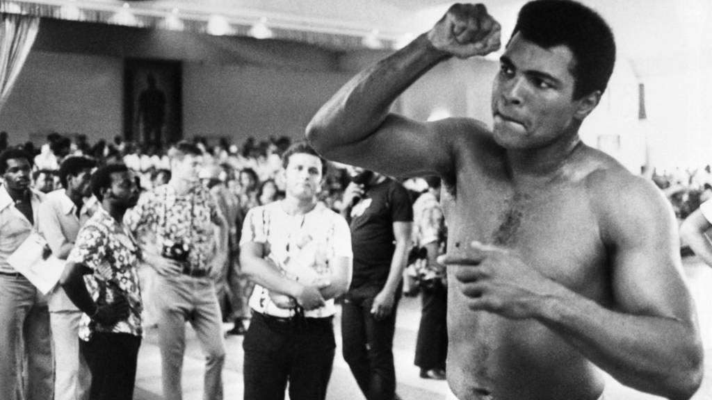 Muhammad Ali trains with a speedball ahead of the Rumble in the Jungle